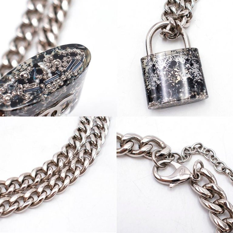 c643a9367f0a57 Chanel Silver-tone CC Padlock Necklace - Large clear resin padlock  withsilver-tone hardware
