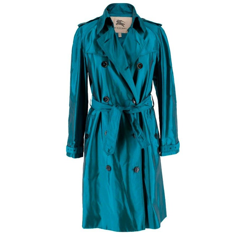 Burberry Iridescent Blue Trenchcoat Size 2