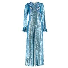 Temperley London Blue Sequin Jumpsuit