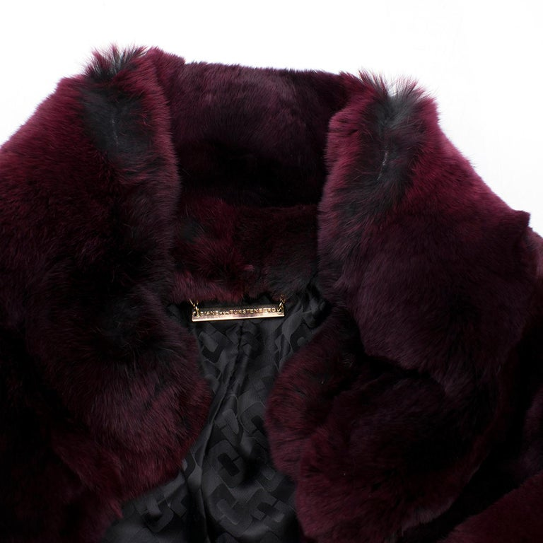 4e1dc14a0df9 Diane von Furstenberg Purple Rabbit Fur Coat In New Condition For Sale In  London