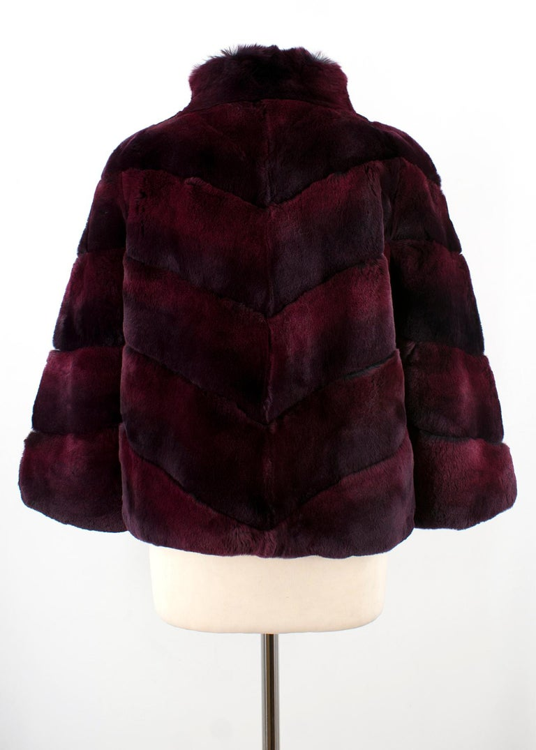 df3f67ff4bb1 Diane von Furstenberg Purple Rabbit Fur Coat - 100% dyed rex rabbit fur -  High