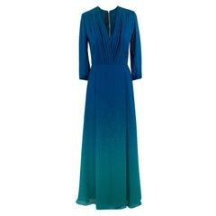 Elie Saab Blue Ombre Double Silk Georgette Gown US size 4