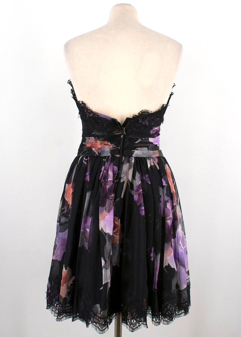 Dolce & Gabbana Black Strapless Floral Dress   In Excellent Condition For Sale In London, GB