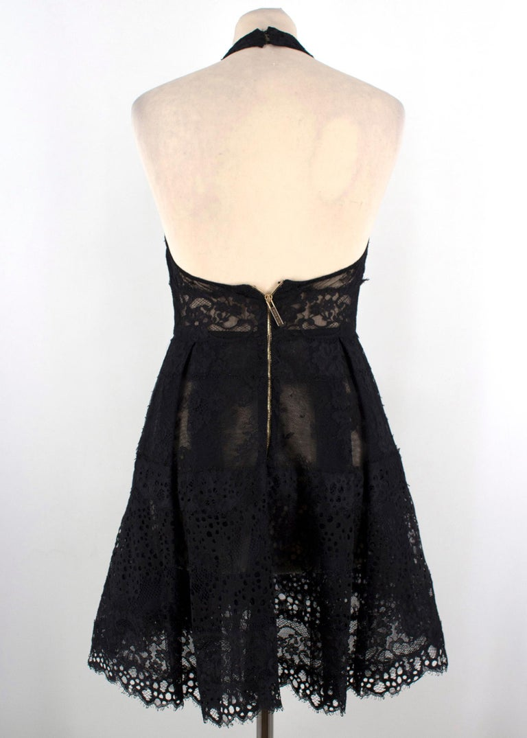 Elie Saab Black Lace Halterneck Mini Dress  In Excellent Condition For Sale In London, GB