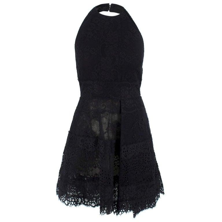 Elie Saab Black Lace Halterneck Mini Dress  For Sale