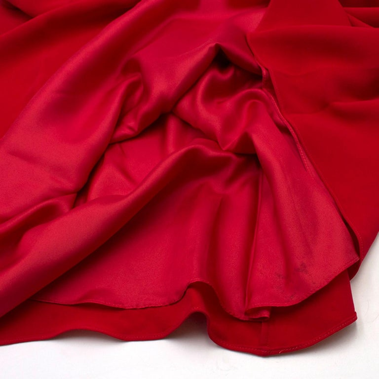 Valentino Red Silk V-Neck Gown US size 4 For Sale 6