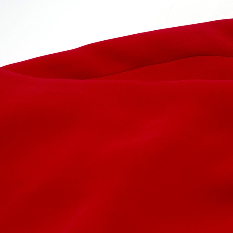 Valentino Red Silk V-Neck Gown US size 4 For Sale 4