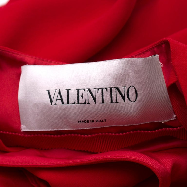 Valentino Red Silk V-Neck Gown US size 4 For Sale 3