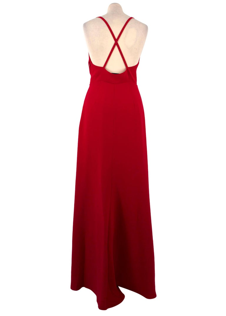 Women's Valentino Red Silk V-Neck Gown US size 4 For Sale