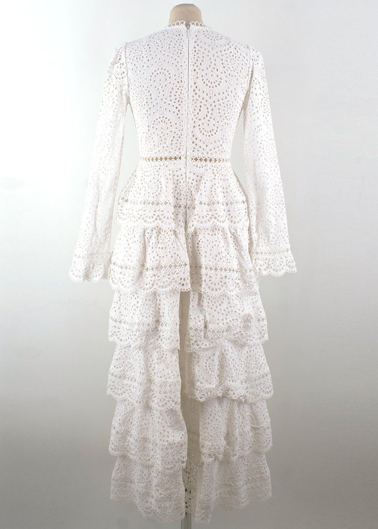 Gray Zimmermann Bayou Cotton Broderie Anglaise Midi Dress US size 0 For Sale