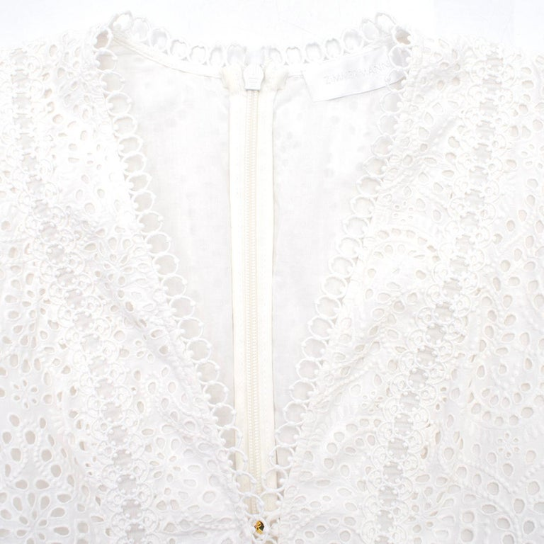 Zimmermann Bayou Cotton Broderie Anglaise Midi Dress US size 0 In Excellent Condition For Sale In London, GB