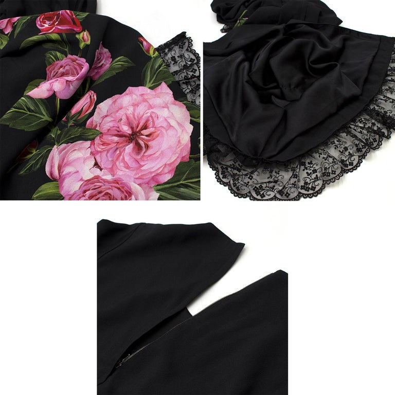 Women's Dolce & Gabbana Rose Printed Lace Detail Midi Dress   For Sale