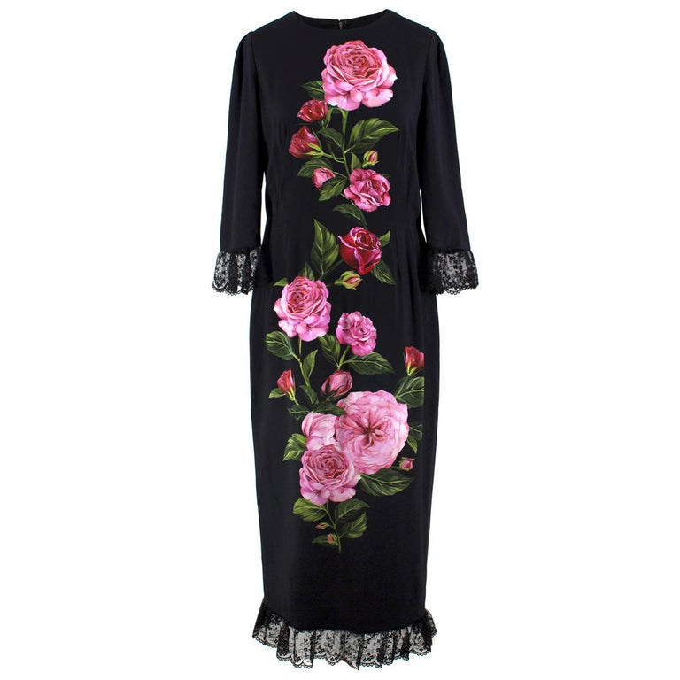 Dolce & Gabbana Rose Printed Lace Detail Midi Dress   For Sale
