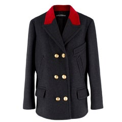 Dolce & Gabbana Wool & Velvet Double Breasted Coat IT 40