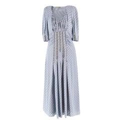 Bottega Veneta Graphic Print Stud Embellished Silk-blend Dress US 6