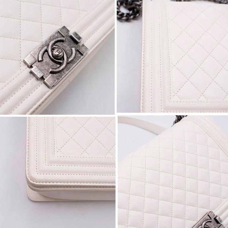 80e9b8694e6f Chanel Large White Boy Bag - Large Boy Bag style - White smooth buttery  leather -