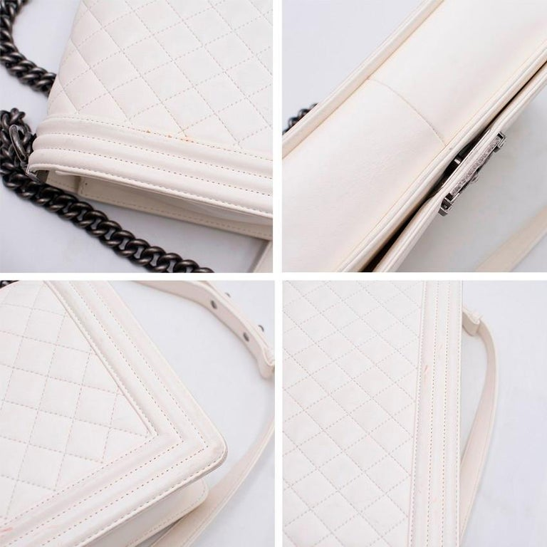 bd66356711b1 Chanel Large Off White Boy Bag In Excellent Condition For Sale In London, GB