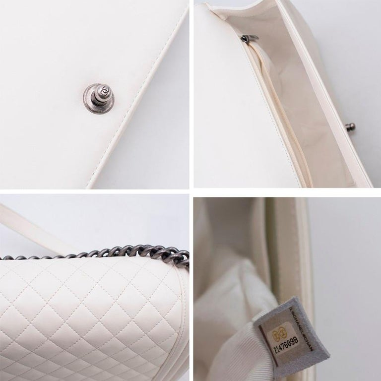 52a733d3776d Chanel Large Off White Boy Bag For Sale at 1stdibs
