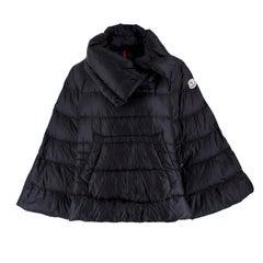 Moncler Black Puffer Cape Coat US 4