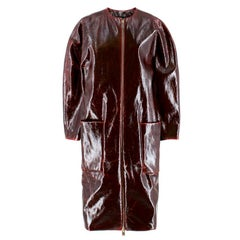 Zaid Affas Burgundy Laminated Wool Cocoon Coat US 6
