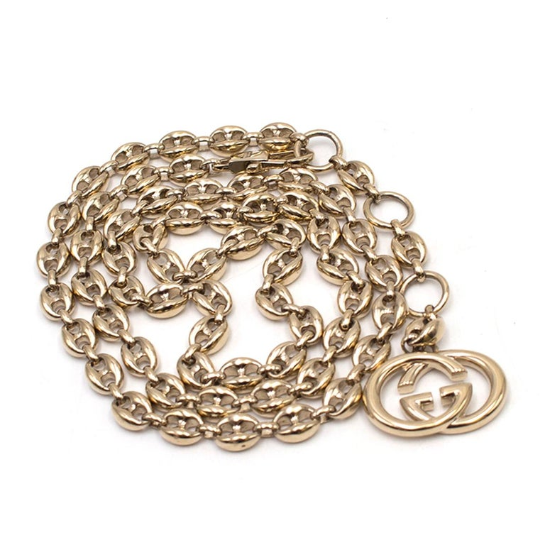 Gucci Gold Tone Mariner Link Chain Belt US 8 For Sale 3