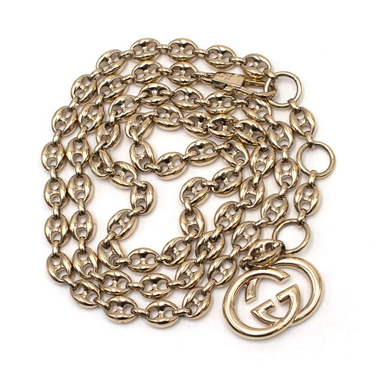 Gucci Gold Tone Mariner Link Chain Belt US 8 For Sale 4