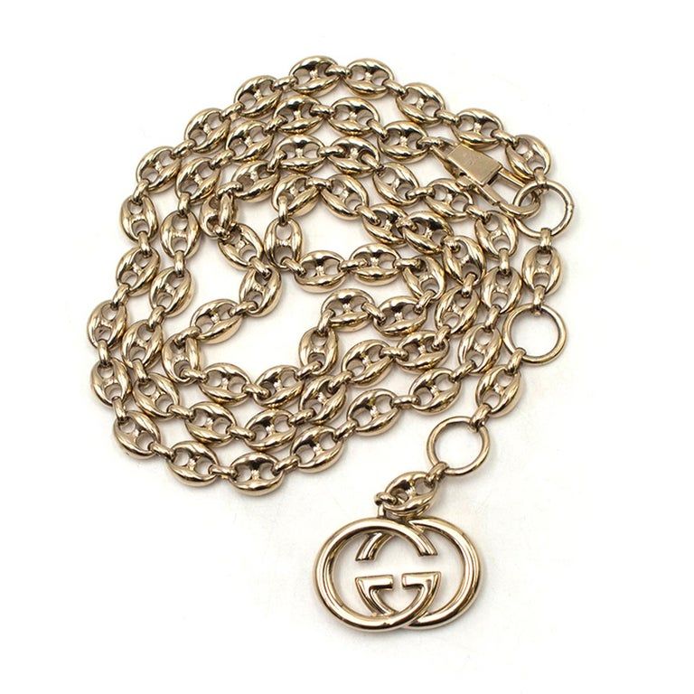 Gucci Gold Tone Mariner Link Chain Belt US 8 For Sale 5