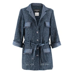 Chanel Blue Woven Tweed Belted Jacket US 6