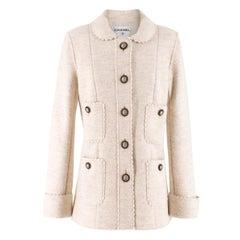 Chanel Ecru Wool Scalloped Detail Jacket Size 10