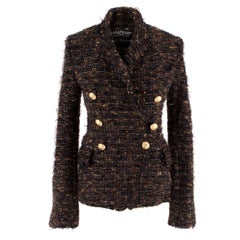 Balmain Boucle Woven Tweed Mohair Blend Jacket US 4