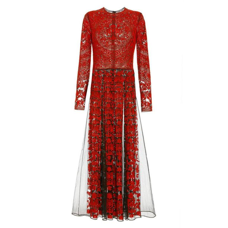 Valentino Tulle Illusione Red Long Sleeve Pleated Gown For Sale at ...