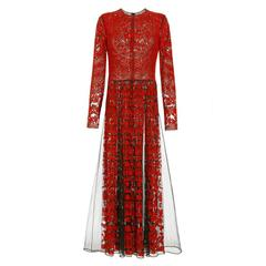Valentino Tulle Illusione Red Long Sleeve Pleated Gown