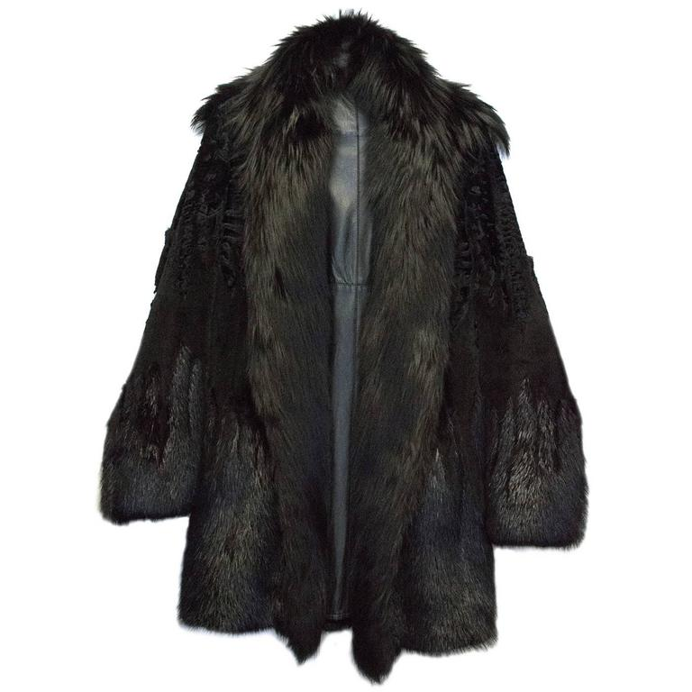 Gucci Men S Black Fur Coat With Leather Lining For Sale At
