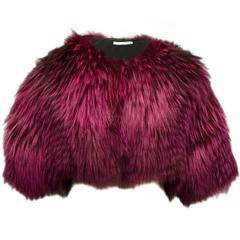 Oscar De La Renta Shocking Pink Fox Fur Bolero