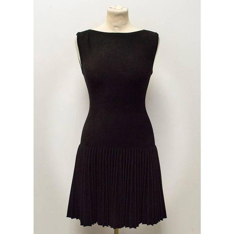 alaia black dress with pleated skirt for sale at 1stdibs