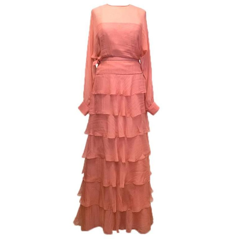 22f34a3eb23b Valentino Pink Ruffled Silk Chiffon Dress at 1stdibs