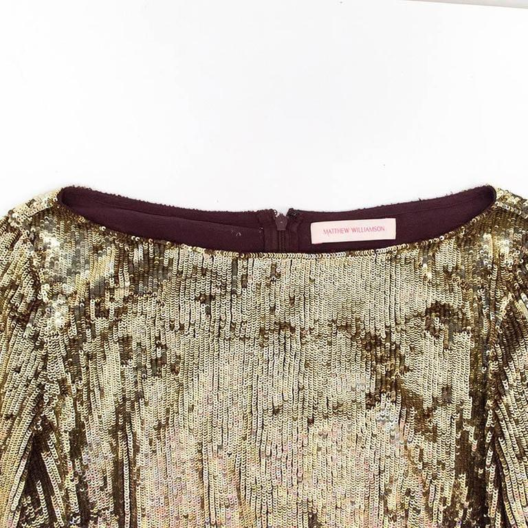 Matthew Williamson Gold and Plum Sequinned Dress  6