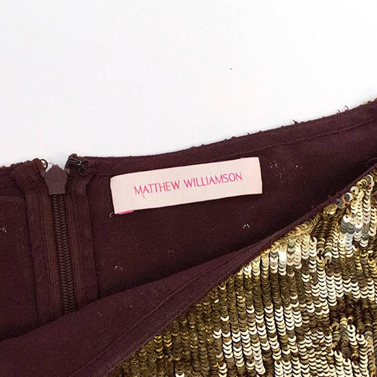 Matthew Williamson Gold and Plum Sequinned Dress  7