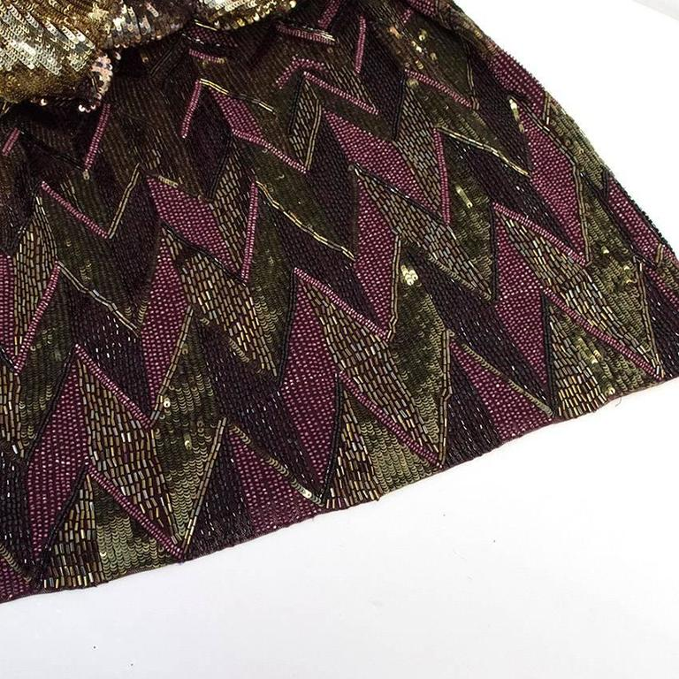 Matthew Williamson Gold and Plum Sequinned Dress  9
