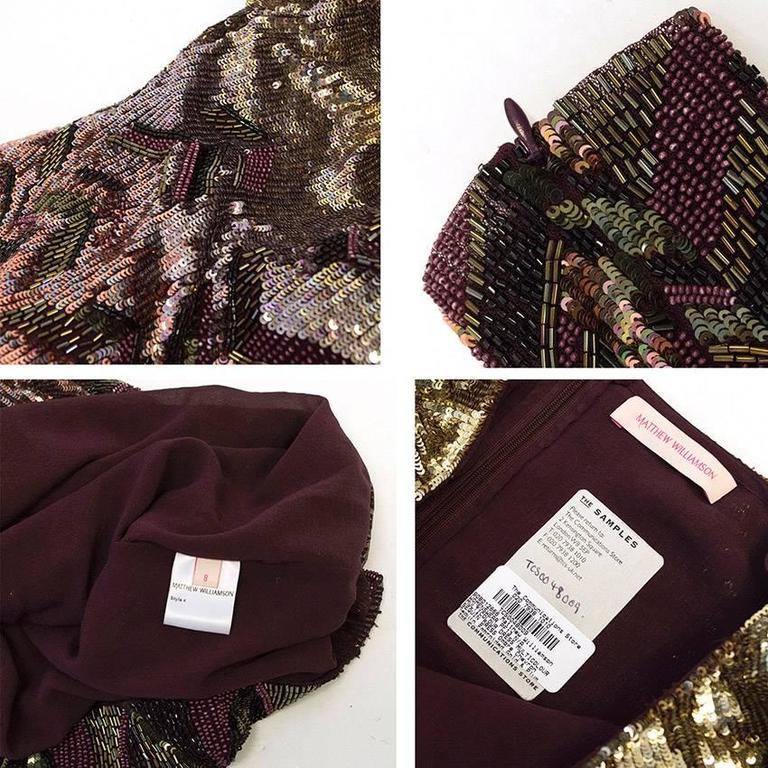 Matthew Williamson Gold and Plum Sequinned Dress  10