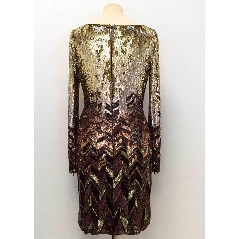 Matthew Williamson Gold and Plum Sequinned Dress  4