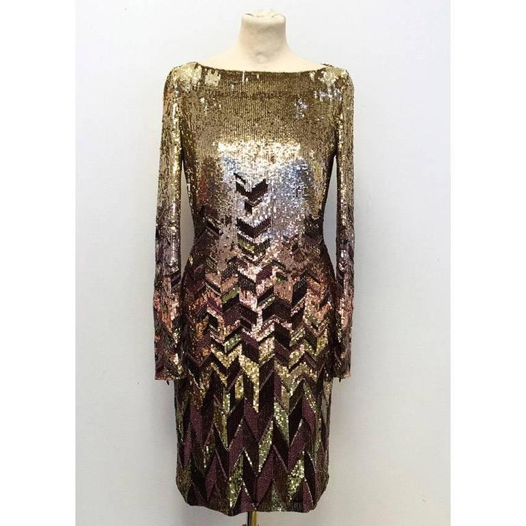 Matthew Williamson Gold and Plum Sequinned Dress  3