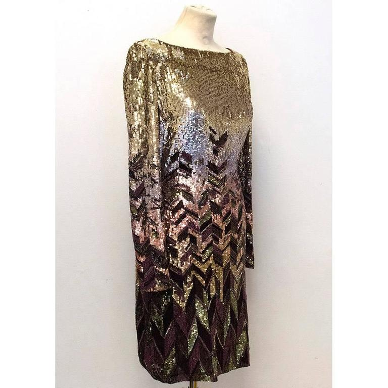 Matthew Williamson Gold and Plum Sequinned Dress  2