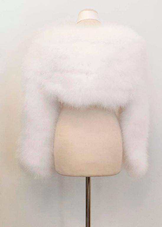 Women's Tom Ford for Gucci White Marabou Bolero For Sale