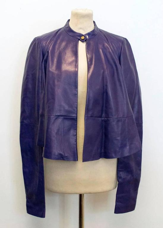 Vionnet purple leather jacket In New Never_worn Condition For Sale In London, GB