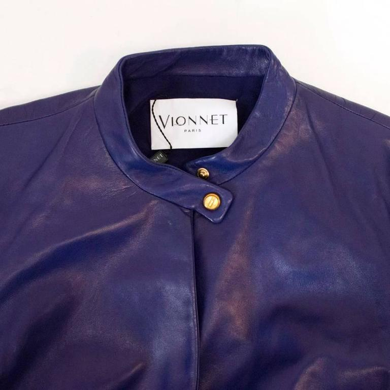 Vionnet purple leather jacket For Sale 2