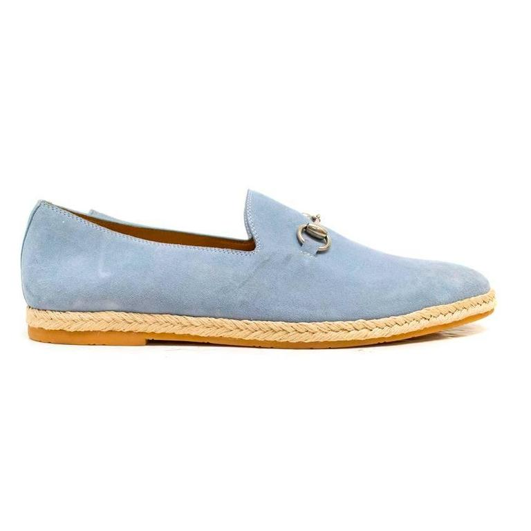 Gucci Light Blue Suede Loafers 2