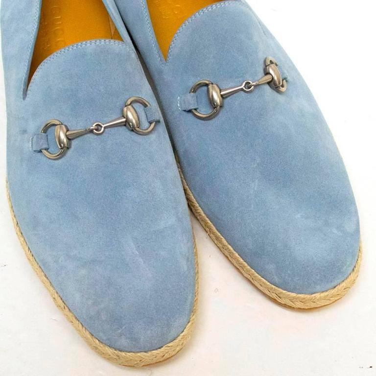 Gucci Light Blue Suede Loafers 5