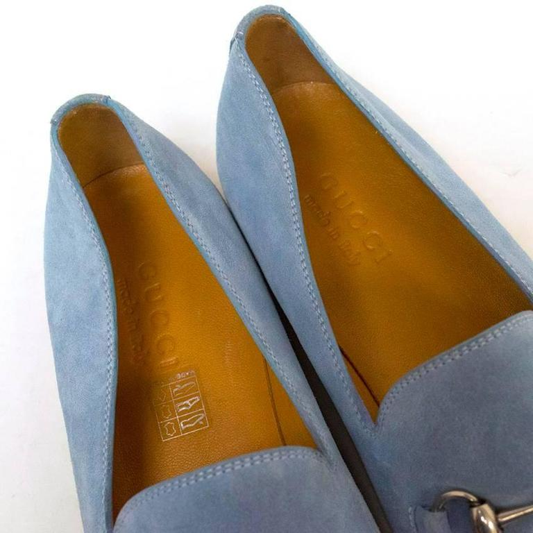 Gucci Light Blue Suede Loafers 6
