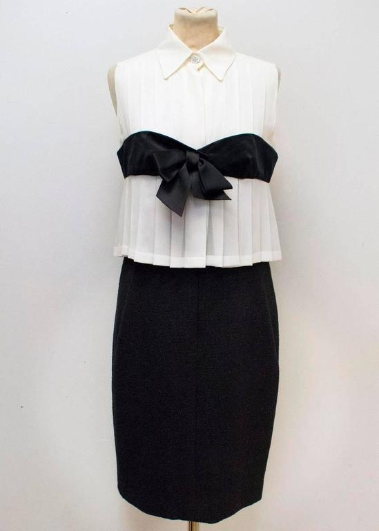 Chanel Black and Cream Dress with Black Bow Detail 2